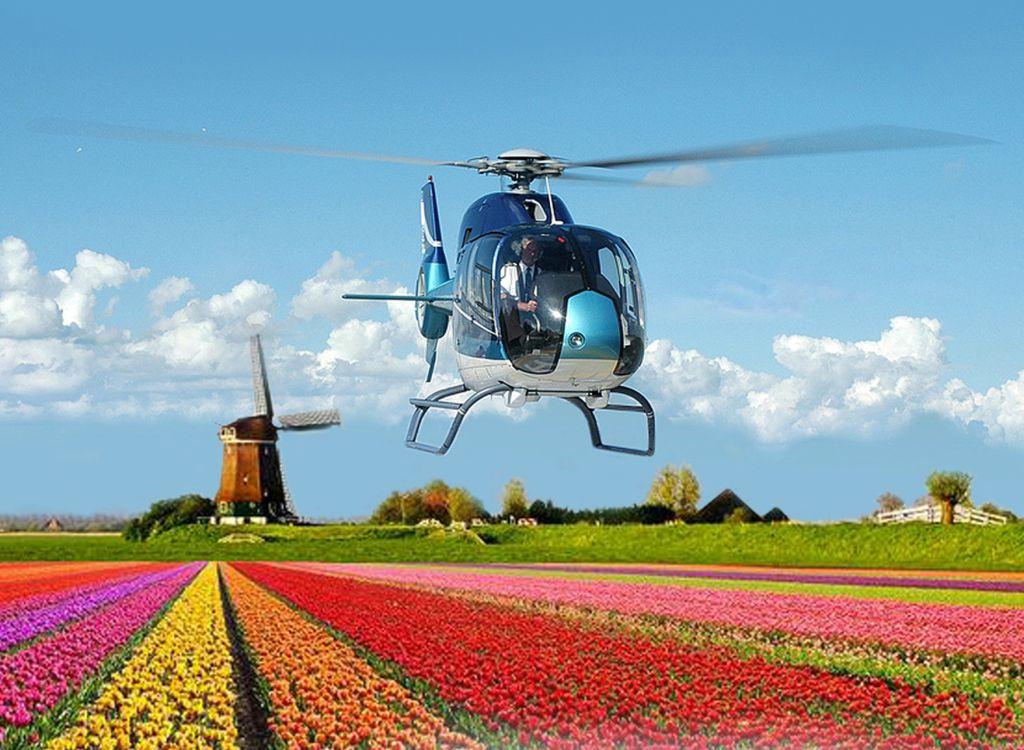 Helikopter Rondvlucht boven Keukenhof, Noordwijk Lisse, Hillegom. Ook tijdens Bloemencorso.